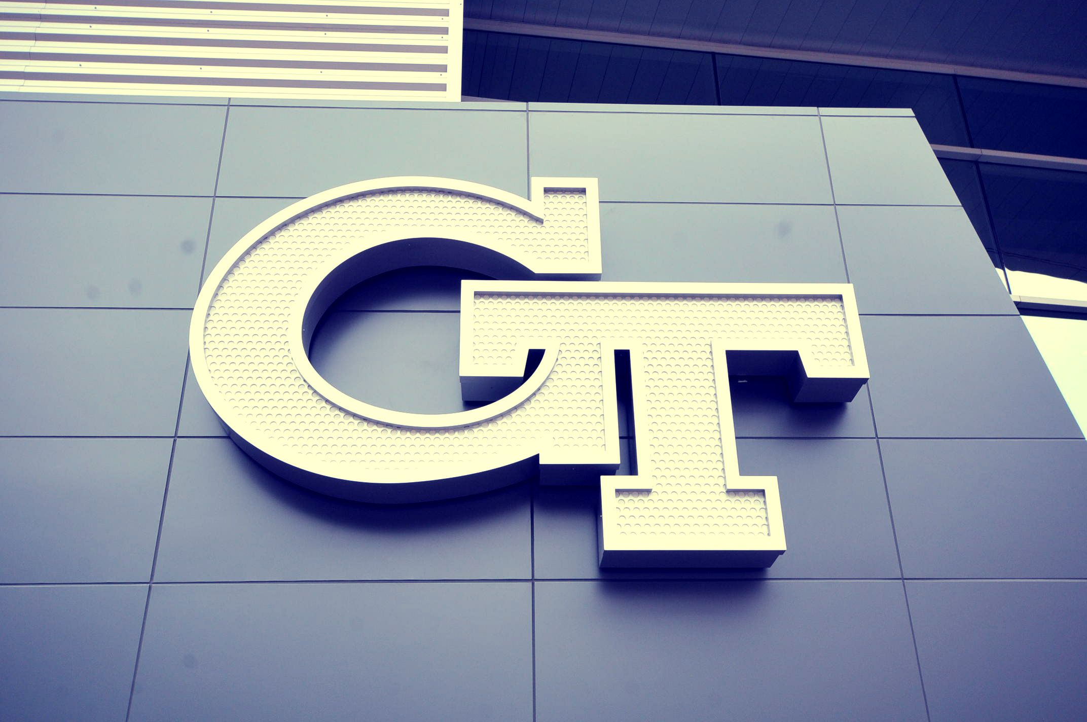 Tech logo on the side of McCamish Pavilion The