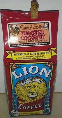 Lion Hawaii Hawaiian Coffee  Toasted Coconut 10 oz Grind Light Medium Roast