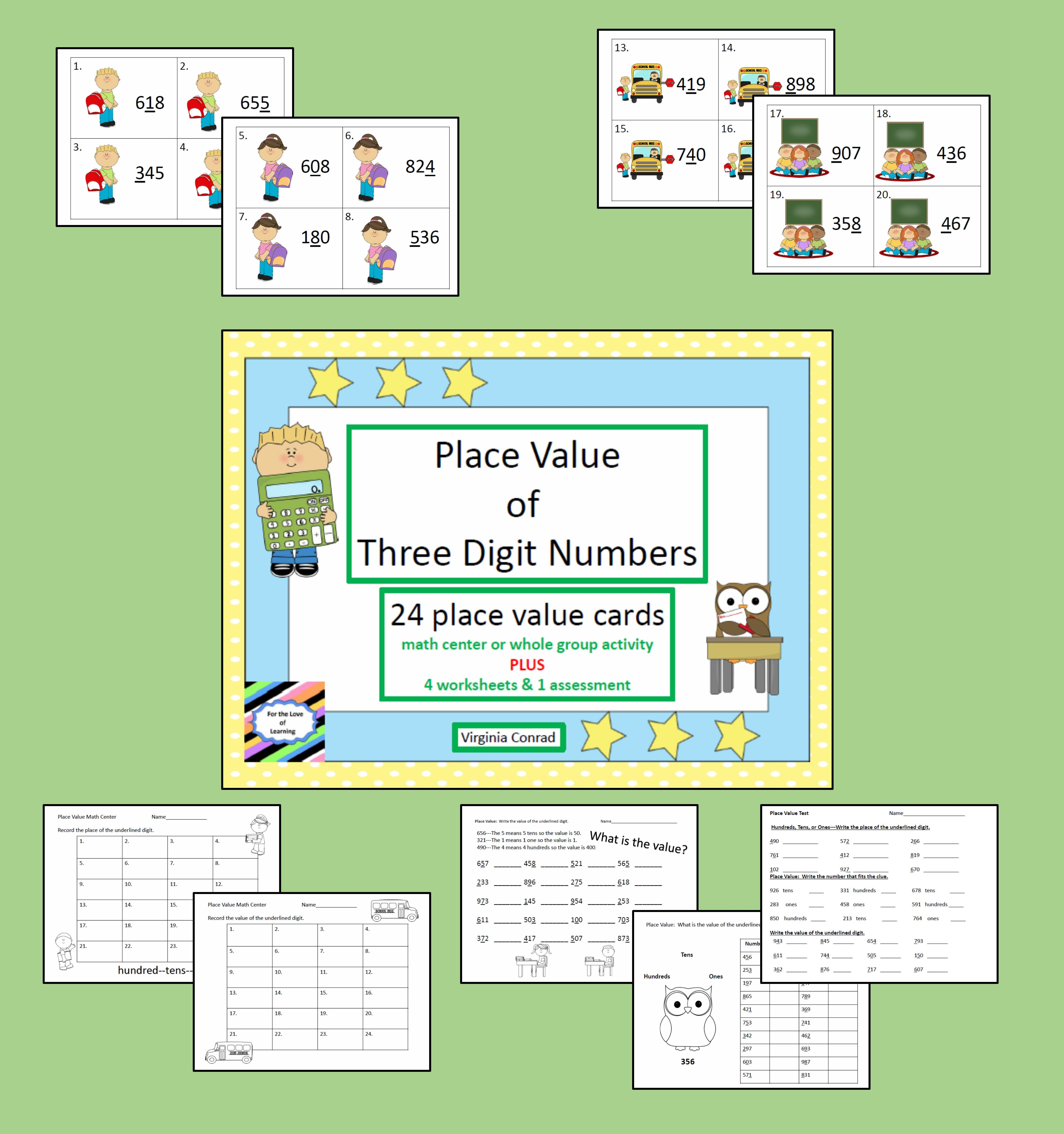 Place Value Of 3 Digit Numbers Back To School Theme