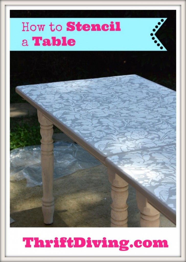 Stenciling a table is one of the easiest ways to transform a dull table into something awesome! I had found this $30 table at the thrift store and decided to split it in 2 and make a long stenciled folding table for my laundry room! See how I did it HERE: