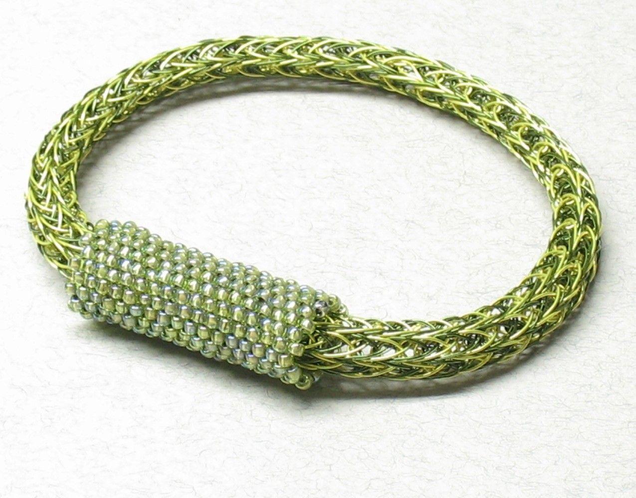 Chartreuse Woven Wire Viking Knit Bracelet. $35.00, via Etsy ...
