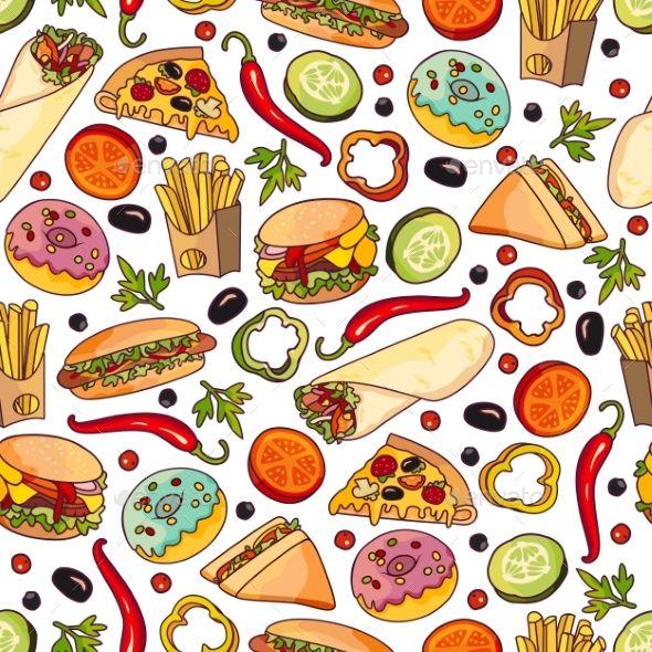 Vector Cartoon Fast Food Seamless Pattern Food Wallpaper Fast
