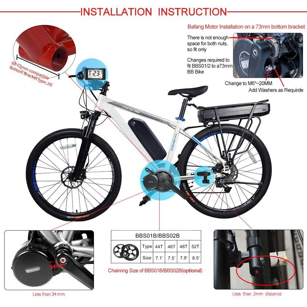 Bafang 48v 350w Brushless Geared Mid Drive Motor Bike Mid Motor