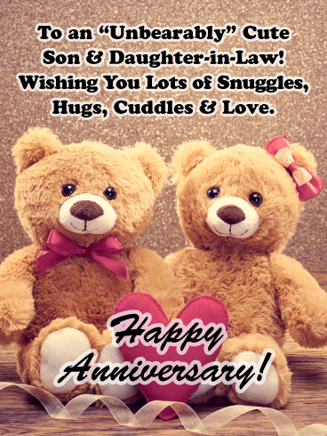An Unbearably Cute Couple Happy Anniversary Card For Son And Daughter Birthday Greeting Cards By Davia Happy Anniversary Cards Happy Anniversary Wishes Anniversary Cards For Wife