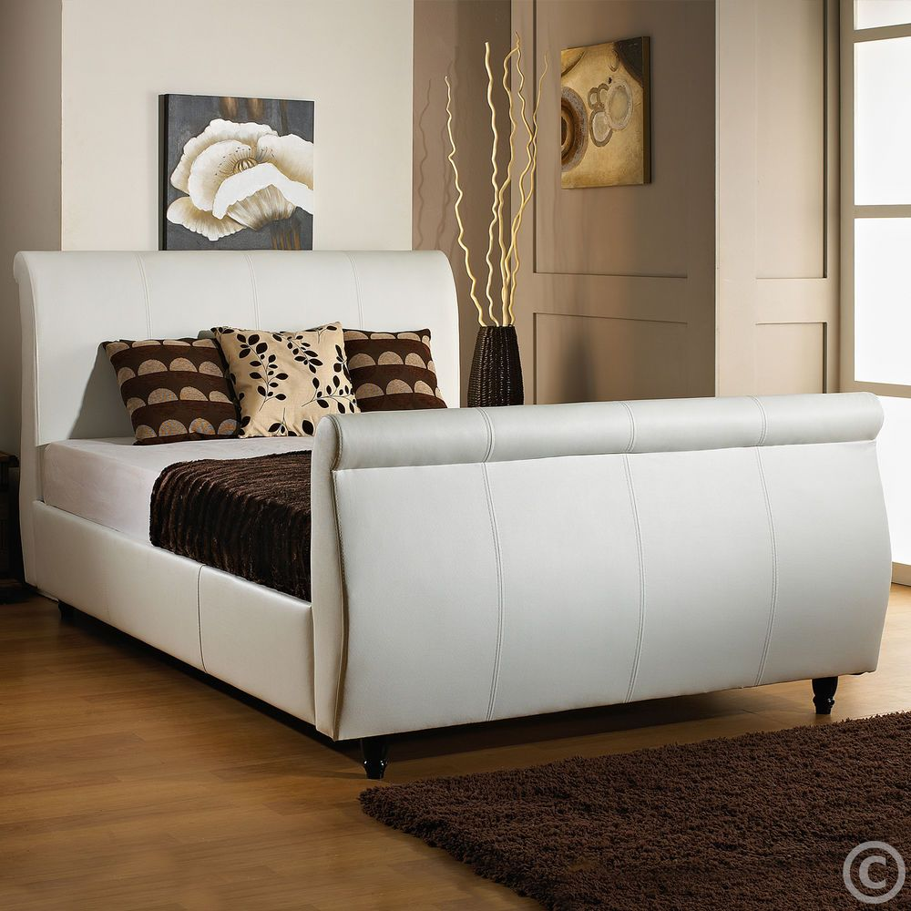 LIMCHO FAUX LEATHER 3FT6 LARGE SINGLE SLEIGH BED + MEMORY