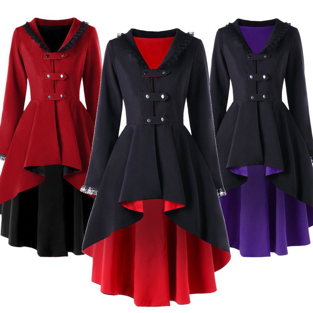 e0439ddd50c Womens Steampunk Lace Trimmed High Low Gothic Asymmetrical Long Trench  Jackets