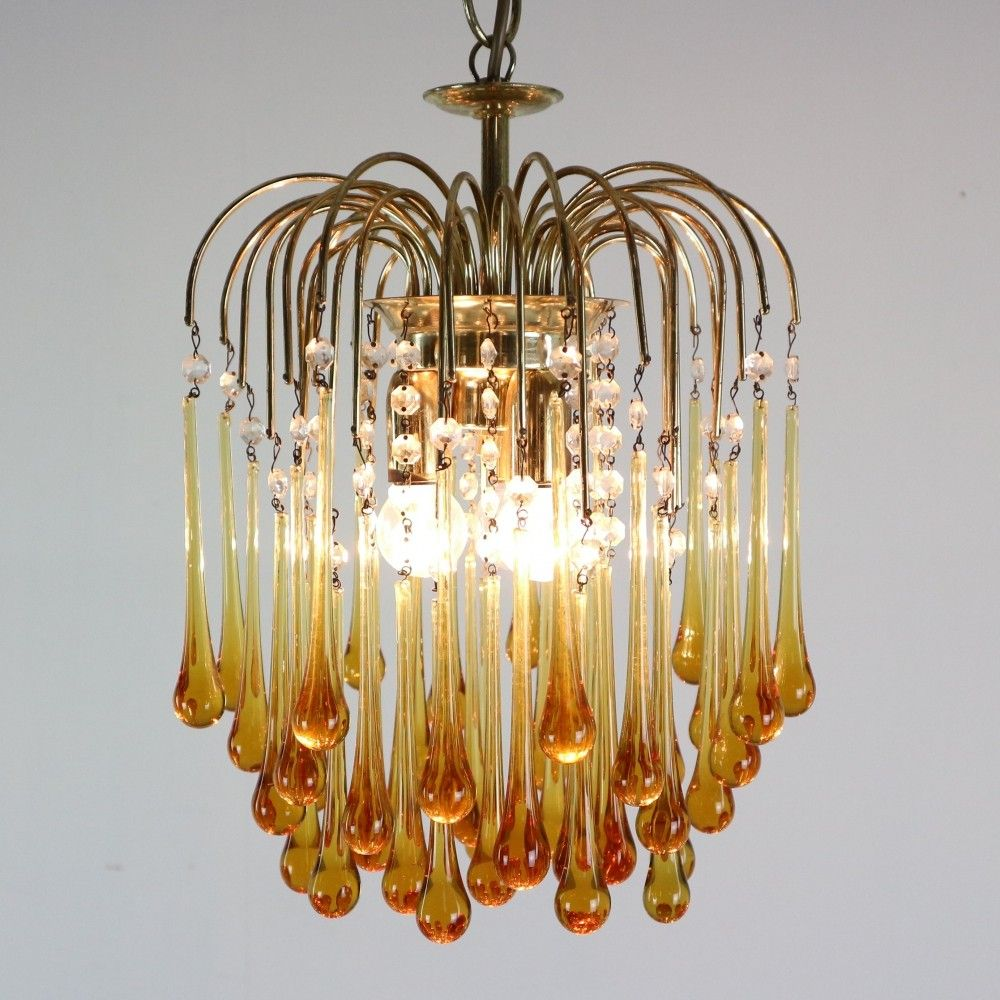 For Sale Vintage Murano Amber Glass Tear Drop Chandelier By Paolo Vanini Italy 1960s Amber Glass Chandelier