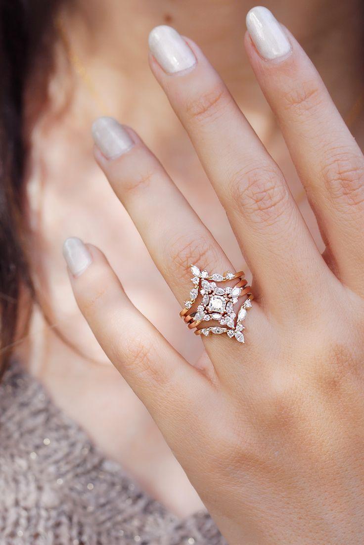 Square Diamond Cluster Wedding Three Rings Set Unique Engagement ...