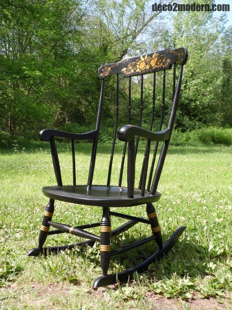 Vintage Nichols Stone Farmhouse Windsor Rocking Chair Stenciled Boston Rocker Americancountry Nichols Rocking Chair Windsor Rocking Chair Nichols And Stone