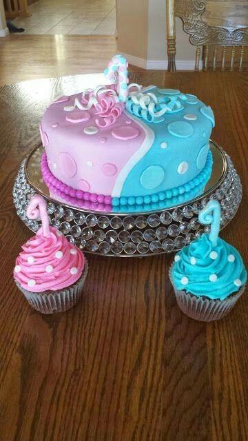 Pink and Blue Birthday Cake