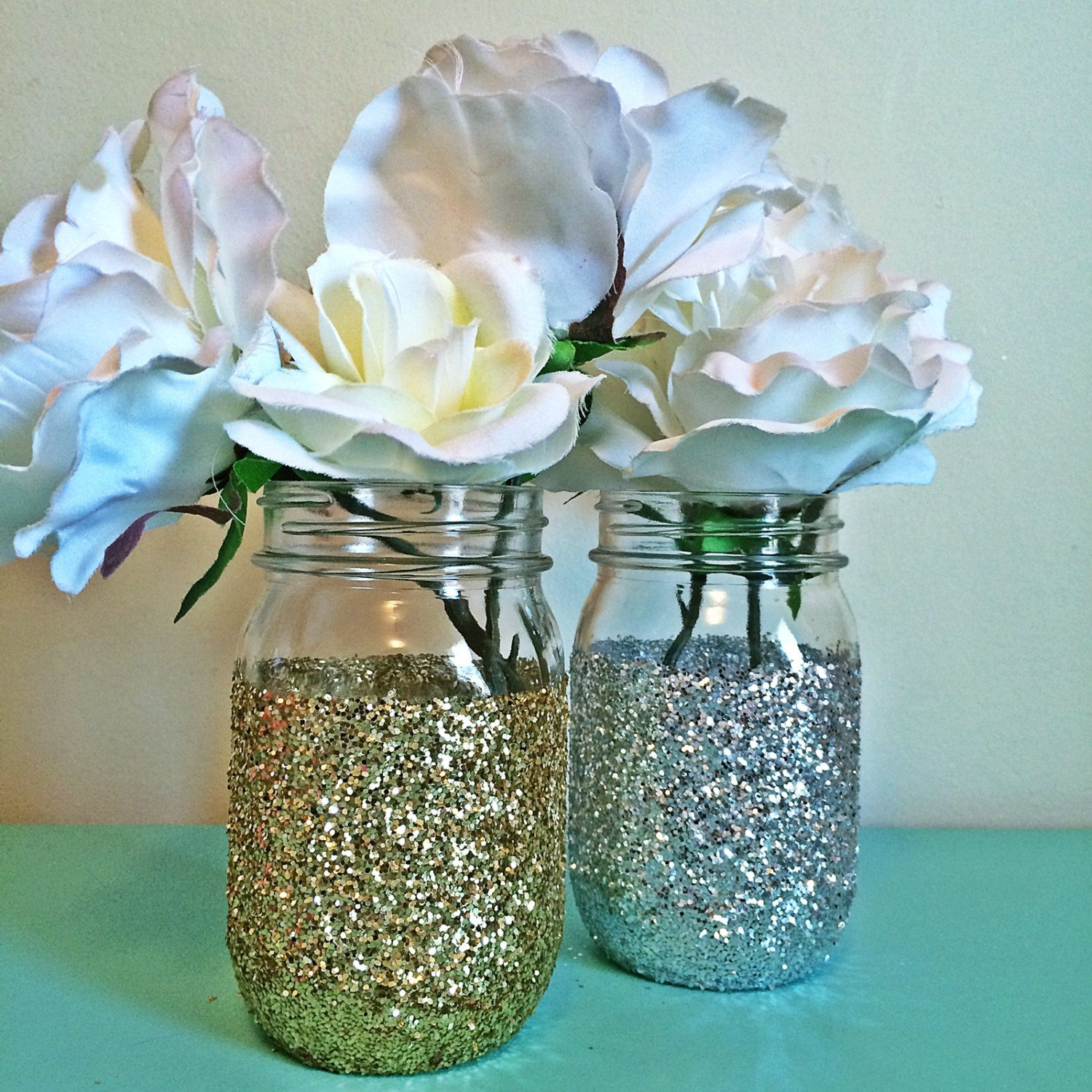 Gold mason jars silver jar decor light