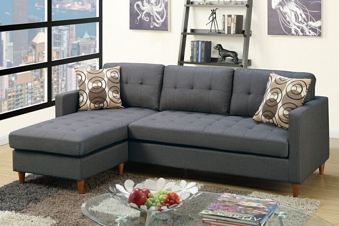 2 Pc Leta Collection Blue Grey Polyfiber Fabric Upholstered Apartment Size Sectional Sofa With Reversible Chaise This Set Is Great For A Small