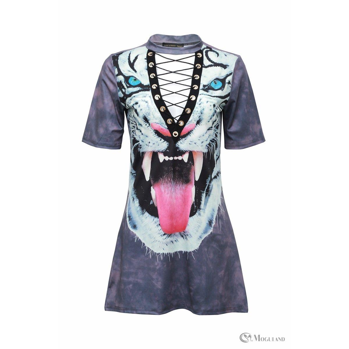 Ladies grey white tiger lace up t-shirt dress wholesale - dresses ...
