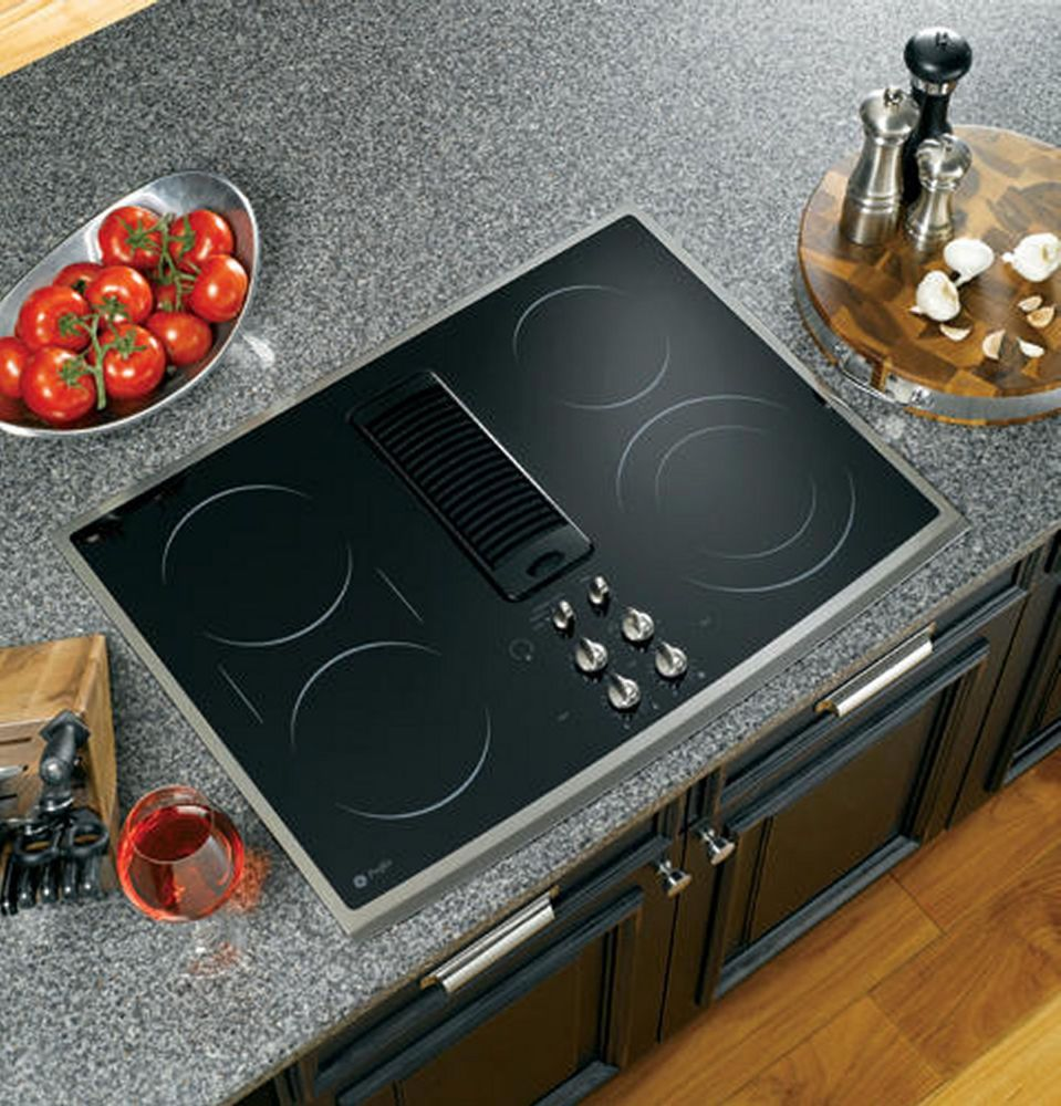 Ge Profile 30 Downdraft Electric Cooktop Black Glass Top