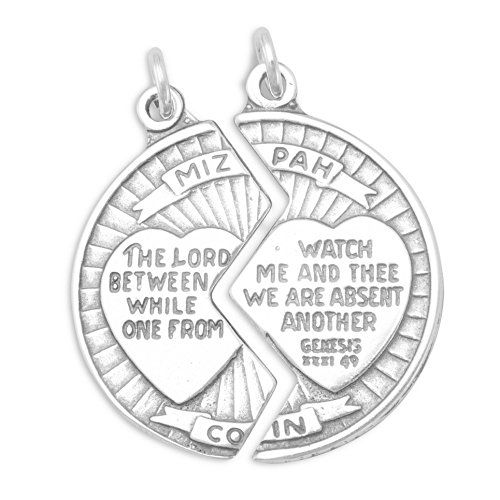 Sterling Silver Charm 118 inch tall Mizpah Break Apart Coin 52 grams -- For more information, visit image link.