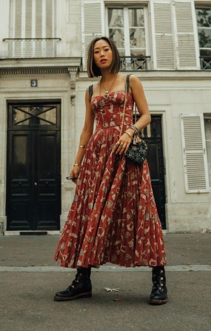 Photo of Red Maxi Dress and Combat Boots For Dior | Song of Style