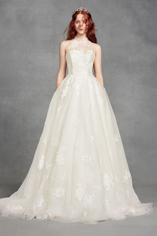 White By Vera Wang Illusion Floral Wedding Dress Style Vw351426