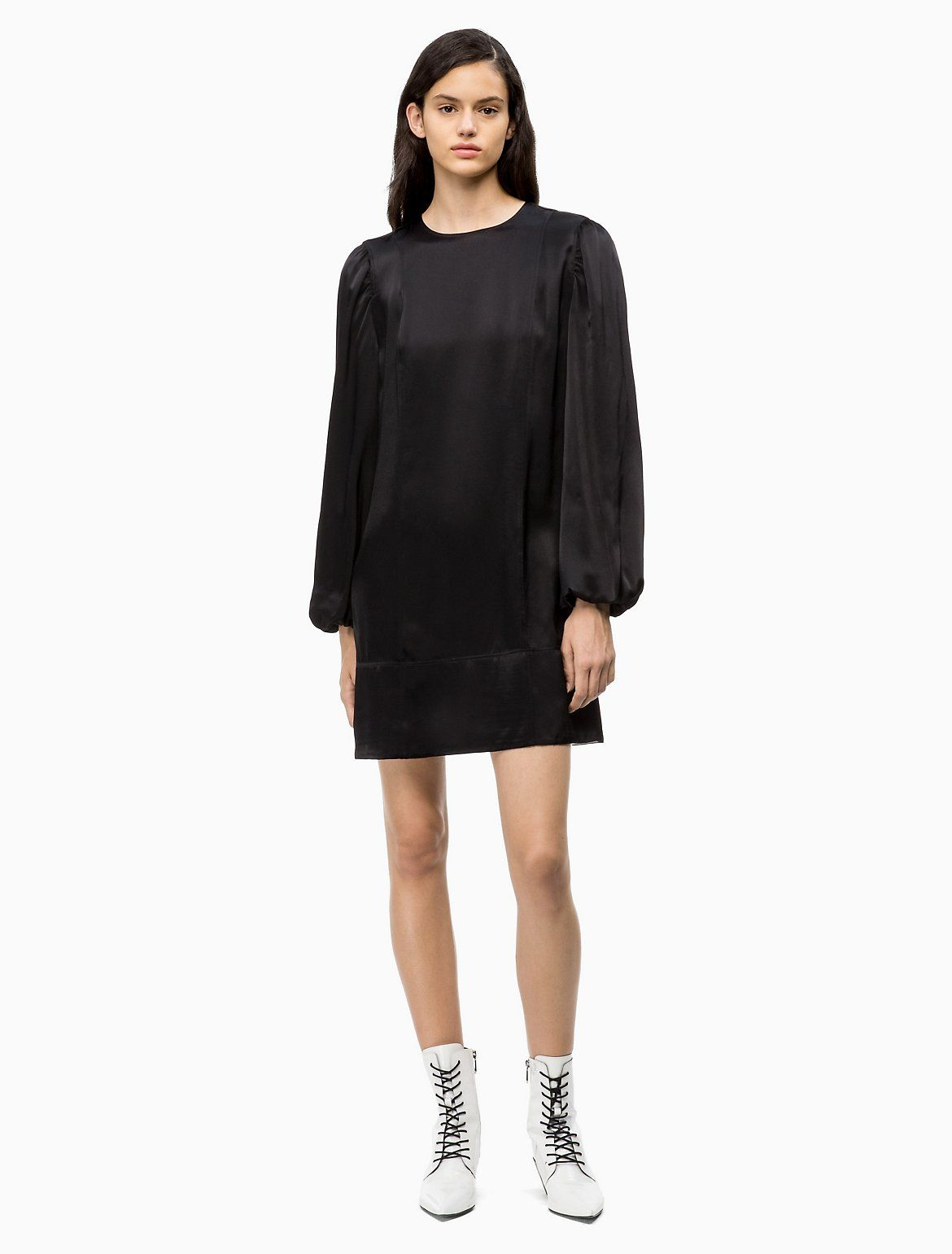 Satin Puff-Sleeve Mini Dress | Calvin Klein #teenageclothing