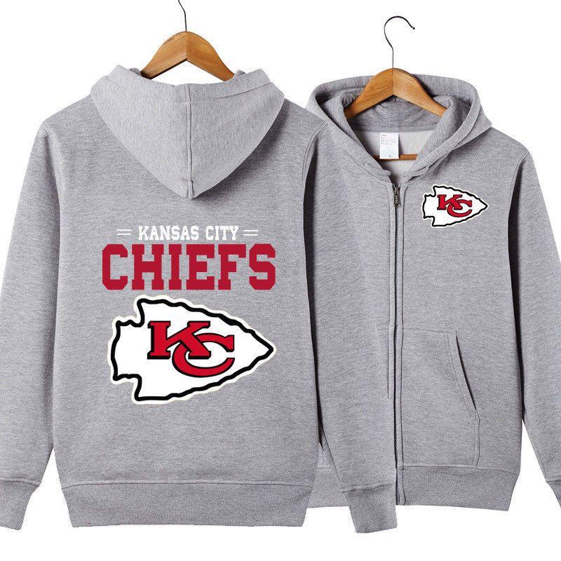 Kansas City Chiefs Hooded Hoodie Zip Front jacket coat women men warm Sweatshirt