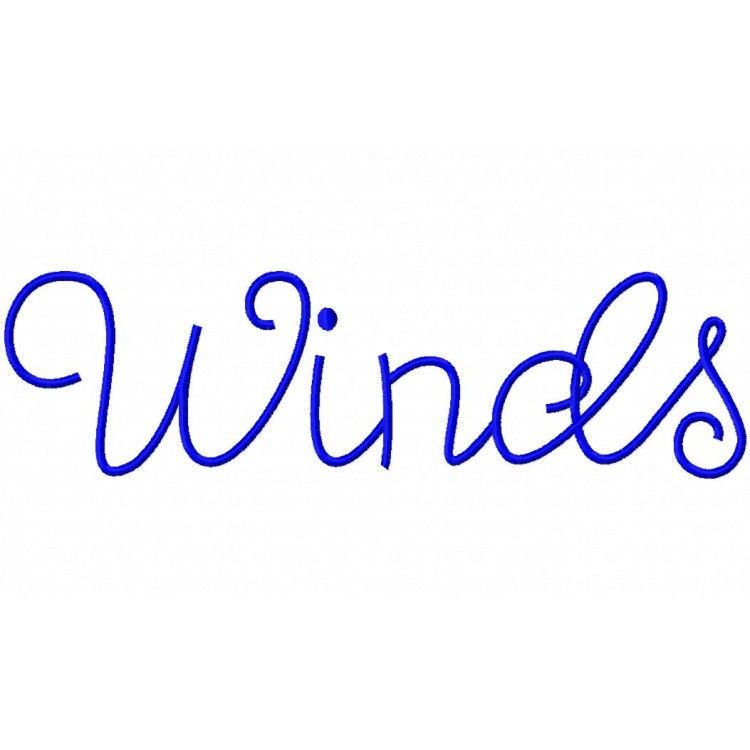 Winds embroidery font