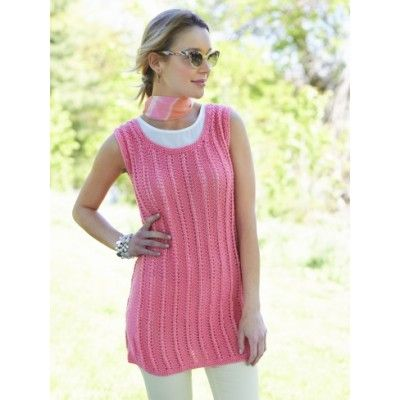 cc1d6f2e70d957 Caron Knit Tank Tunic Free Knitting Pattern. Skill Level  Intermediate  Breeze right through the spring and summer in this versatile combination of  a tank ...