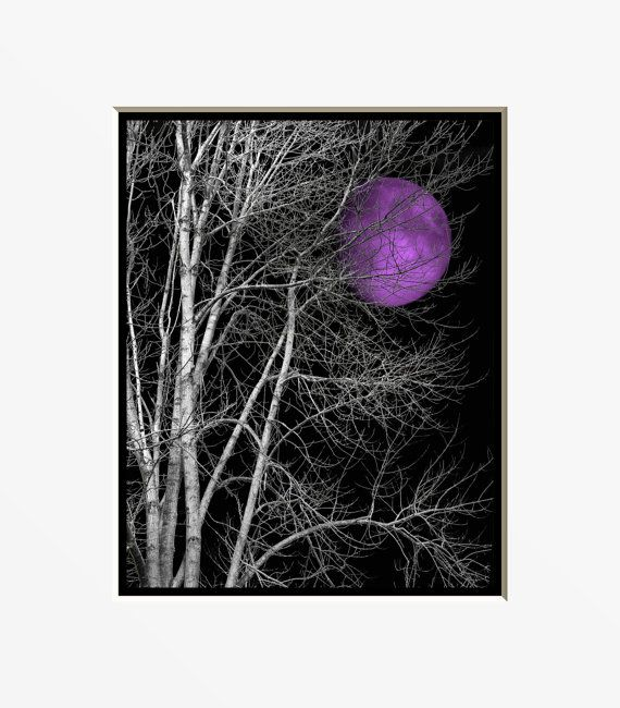 Black White Purple Wall Art, Purple Moon, Pop Of Purple