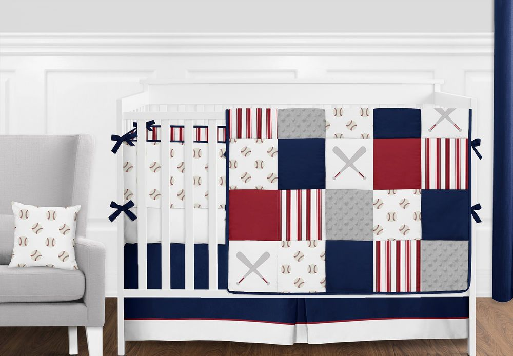 Red White And Navy Blue Patchwork Baseball Sports Baby Boy
