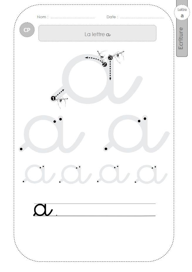 Préférence la lettre a au CP:FICHES d'ECRITURE. Modèles d'écriture | LAS  VV73