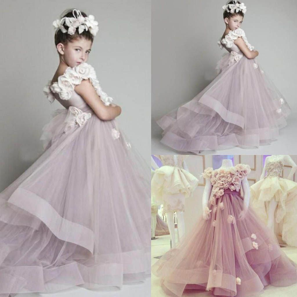 Charming Lavender Flower Girl Dresses Hot Sale A Line Organza Sleeve