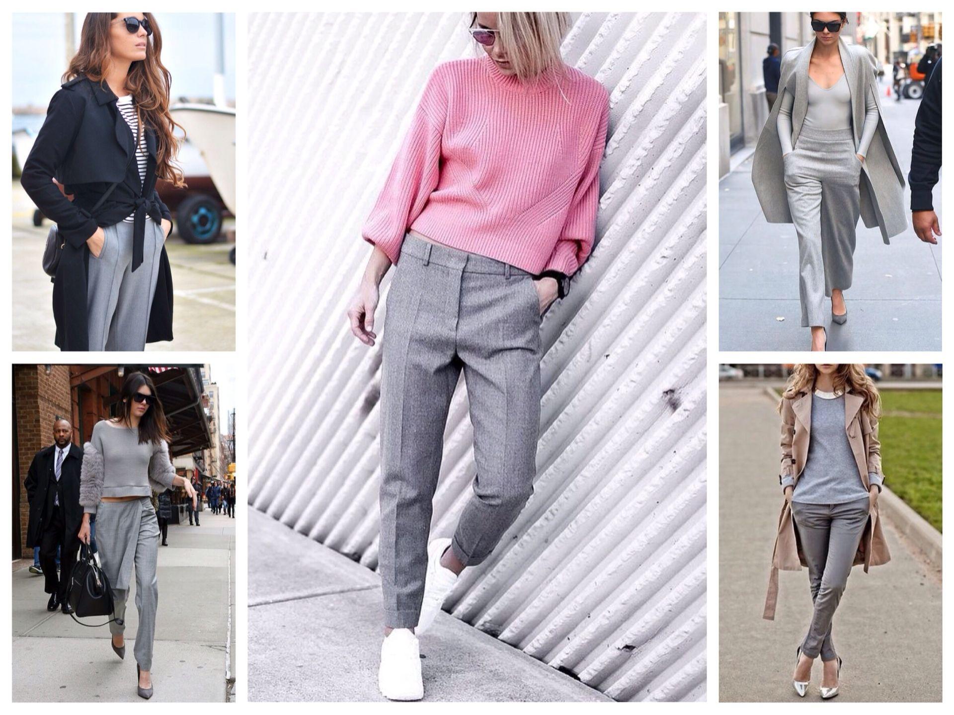С чем носить брюки серого цвета фото