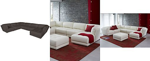 Traverso Leather 6-Piece Chaise Modular Sectional Sofa