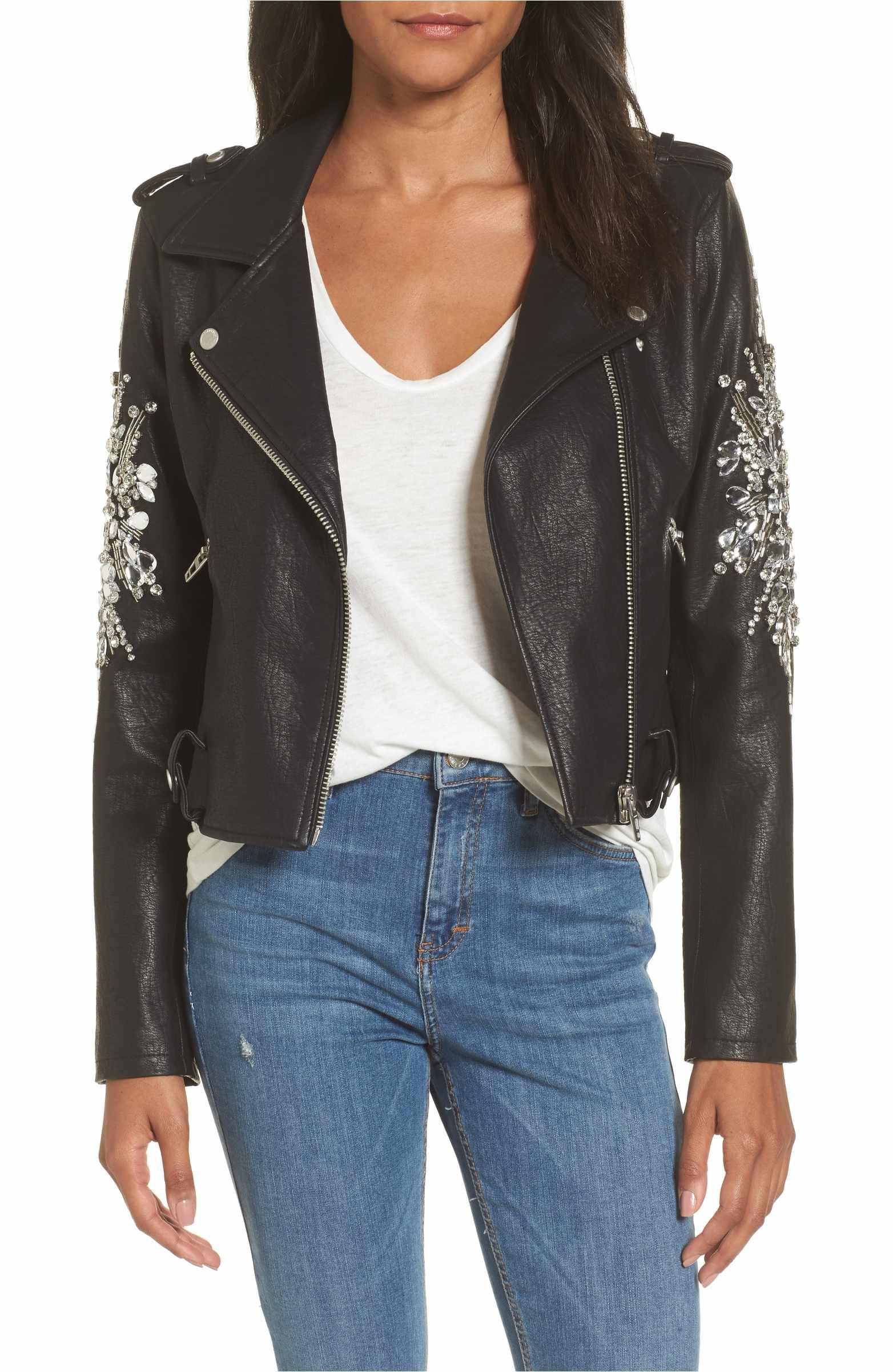 5f602b51a Main Image - BLANKNYC Embellished Faux Leather Moto Jacket | Fashion ...