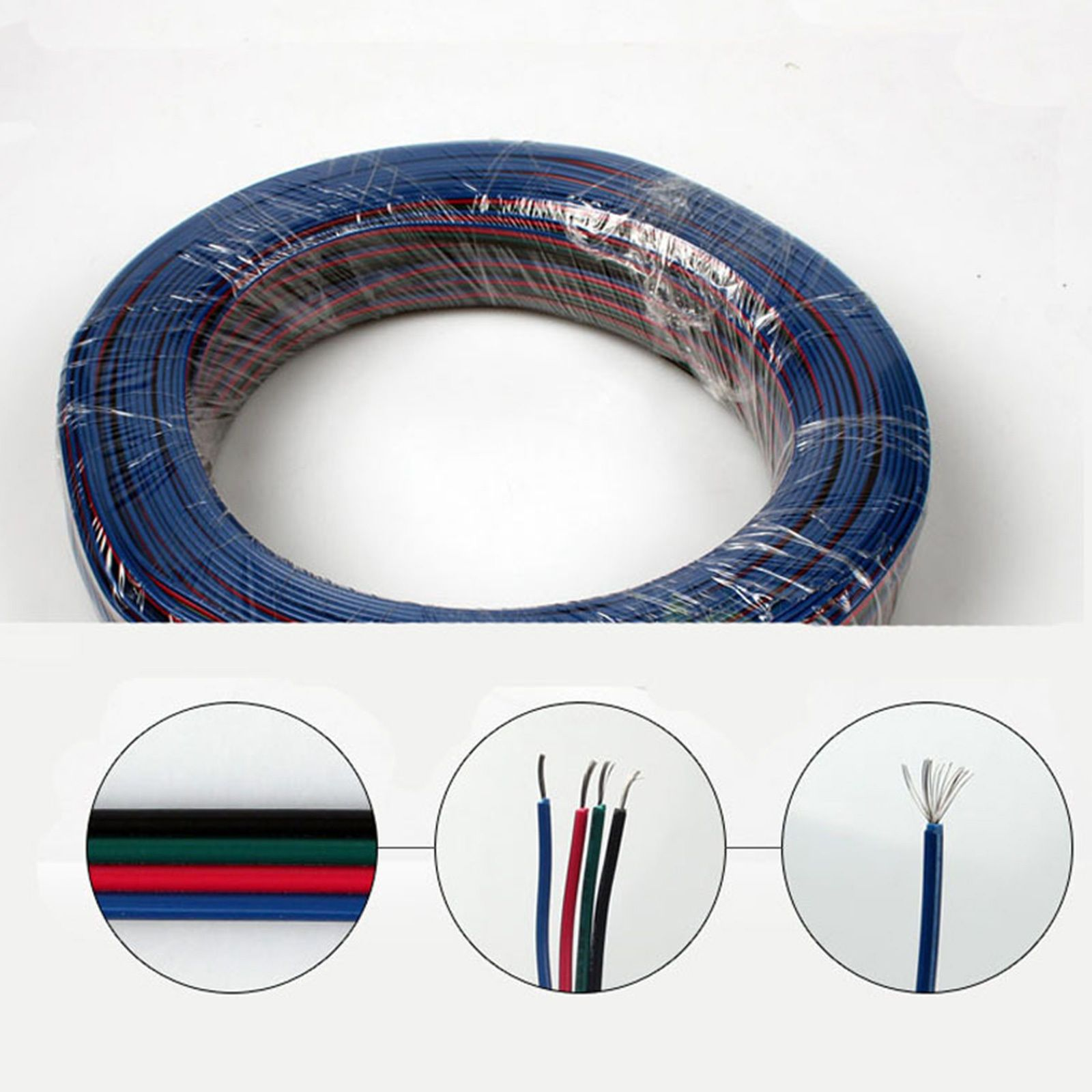 1 50m 4pin Rgb Extension Cable Wire Cord For 3528 5050 Smd Led Light Connector Strip Ebay Lots