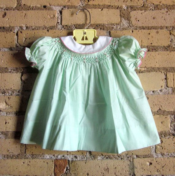 Child Size 12M Mint Green Hand Smocked Baby by AttysSproutVintage, $19.00