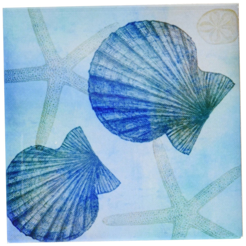 DRose Cst Aqua Shells And Starfish Beach Themed ArtCeramic - Beach themed ceramic tile
