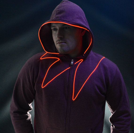 Light up hoodie Led Hoodie with EL wire By NEO LUX -Vigilante- (led ...