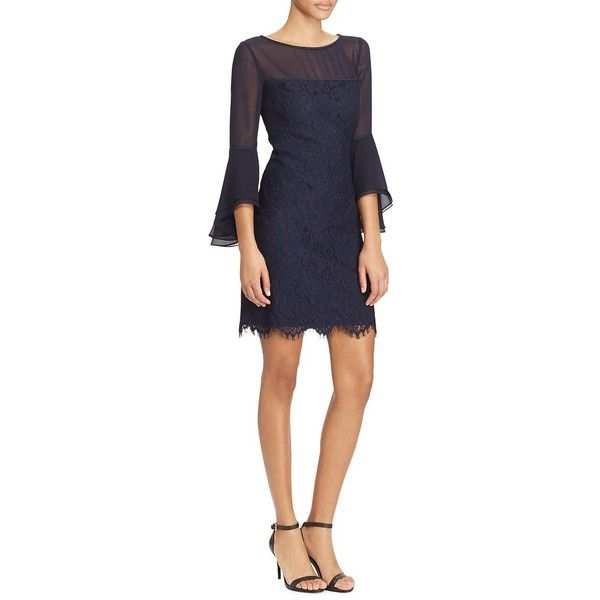 8c95f7b93e9cb Lauren Ralph Lauren Women s Lace Bell-Sleeve Dress (150 CAD) ❤ liked on