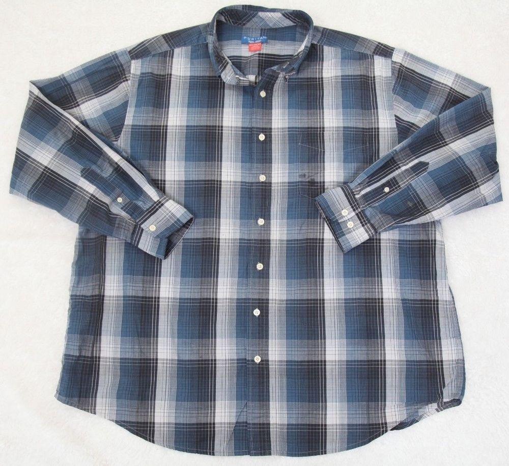 Puritan Dress Shirt 2xl Blue Gray Cotton Polyester Mens Choice
