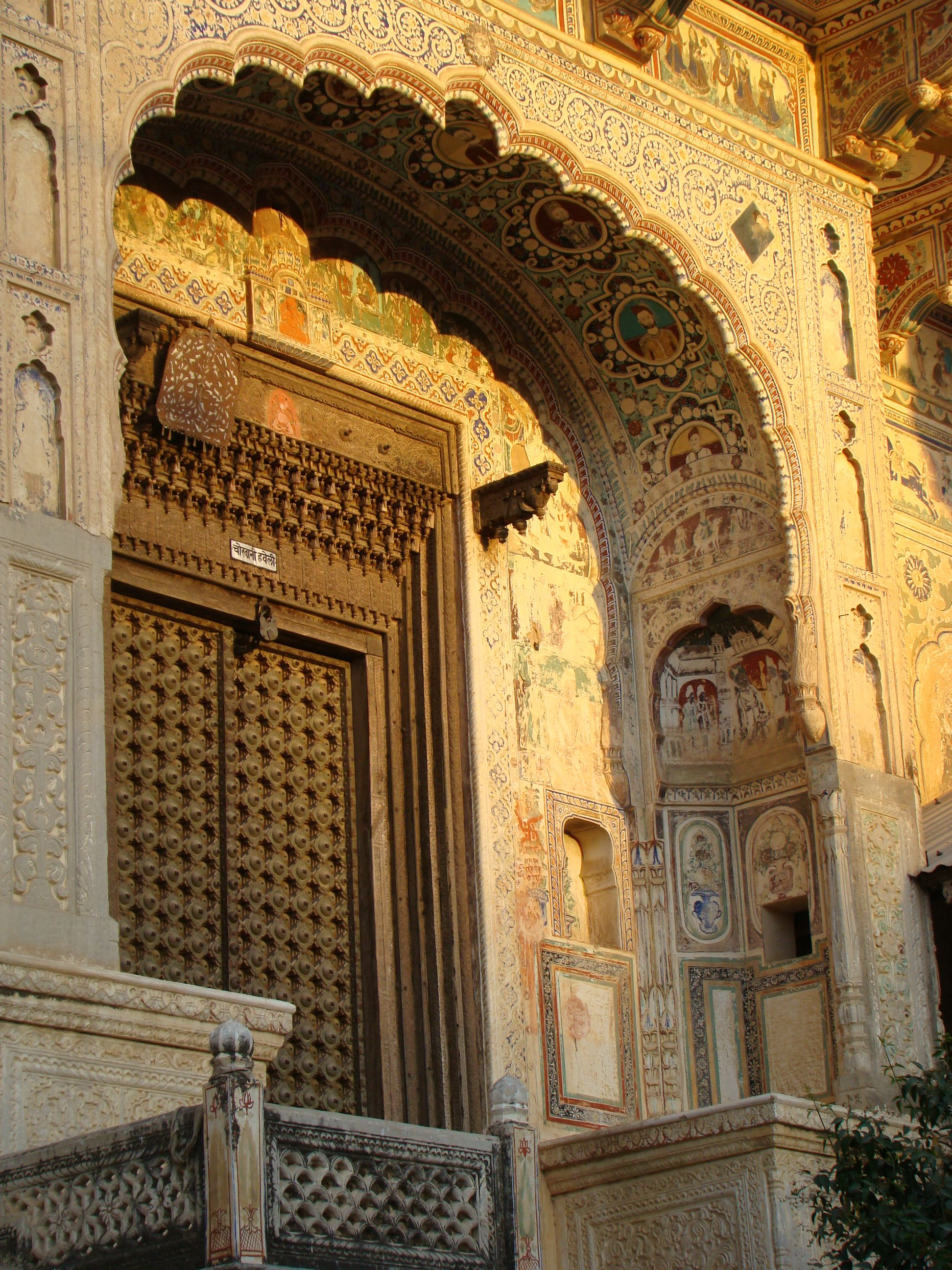 Elaborately decorated haveli (merchant's town home) in  Mandawa, Rajasthan, India