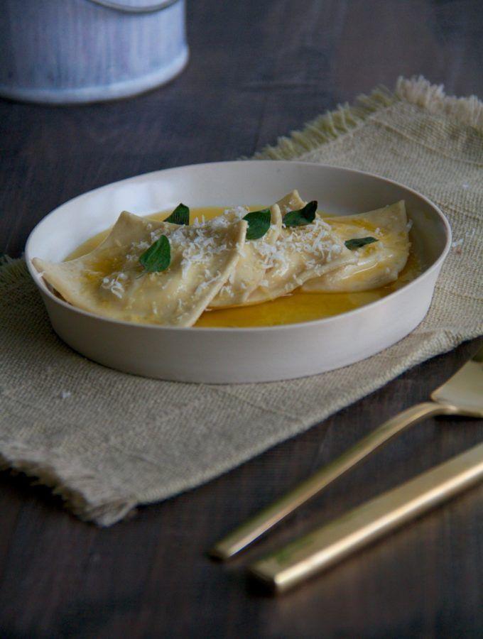 Lemon Ricotta Ravioli with Garlic Butter and Oregano