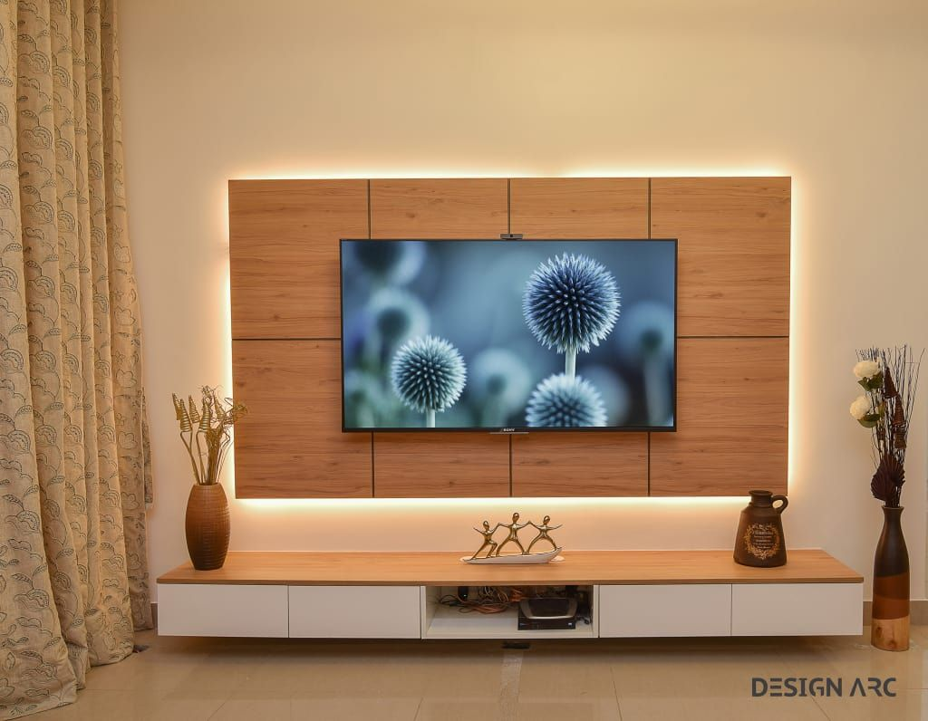 Tv Unit Design Design Arc Interiors Interior Design Company Modern Living Room Plywood Wood Effect Homify Modern Tv Unit Designs Wall Tv Unit Design Living Room Tv Unit Designs