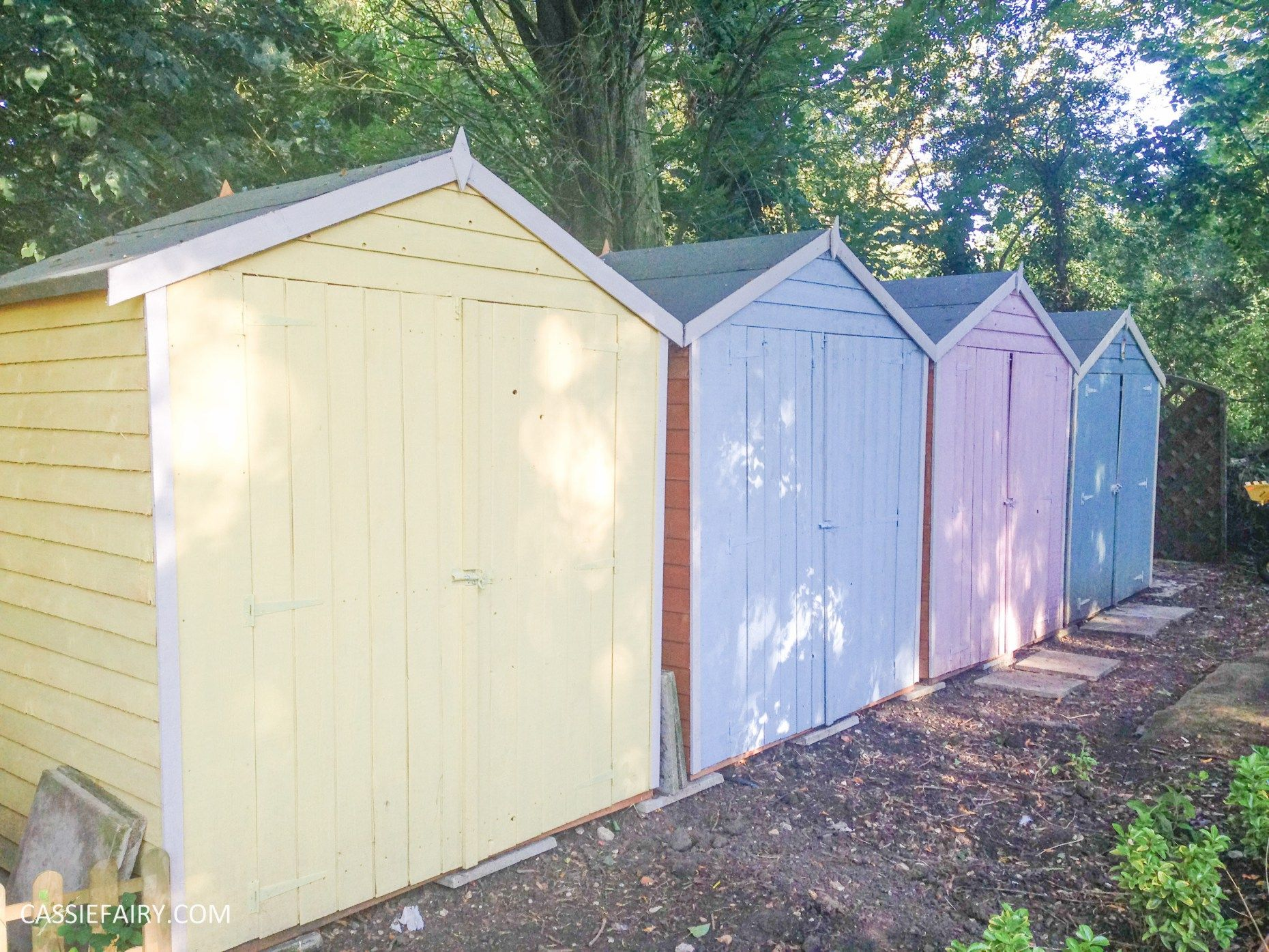 Use B&Q exterior paint to makeover old sheds and give them a pastel ...