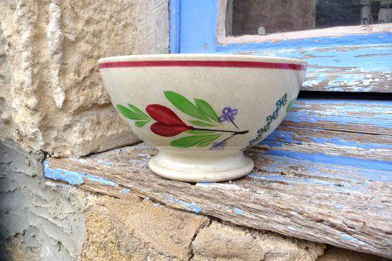 Antique 1900s French cafe au lait bowl floral by petitbrocante #cafe #bowl #antique