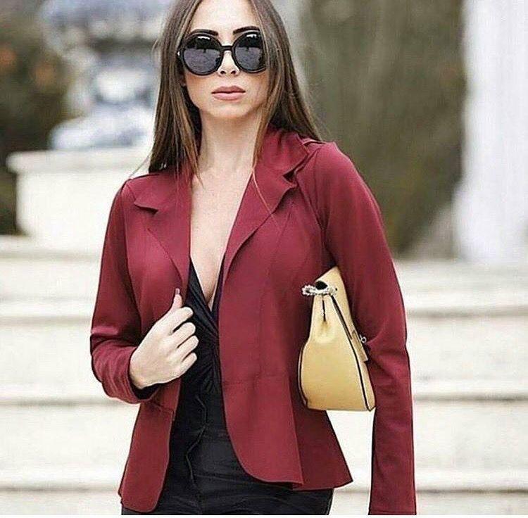 72a9d4fd1 Blazer em neoprene super maravilhoso na cor marsala - Madame Ninna