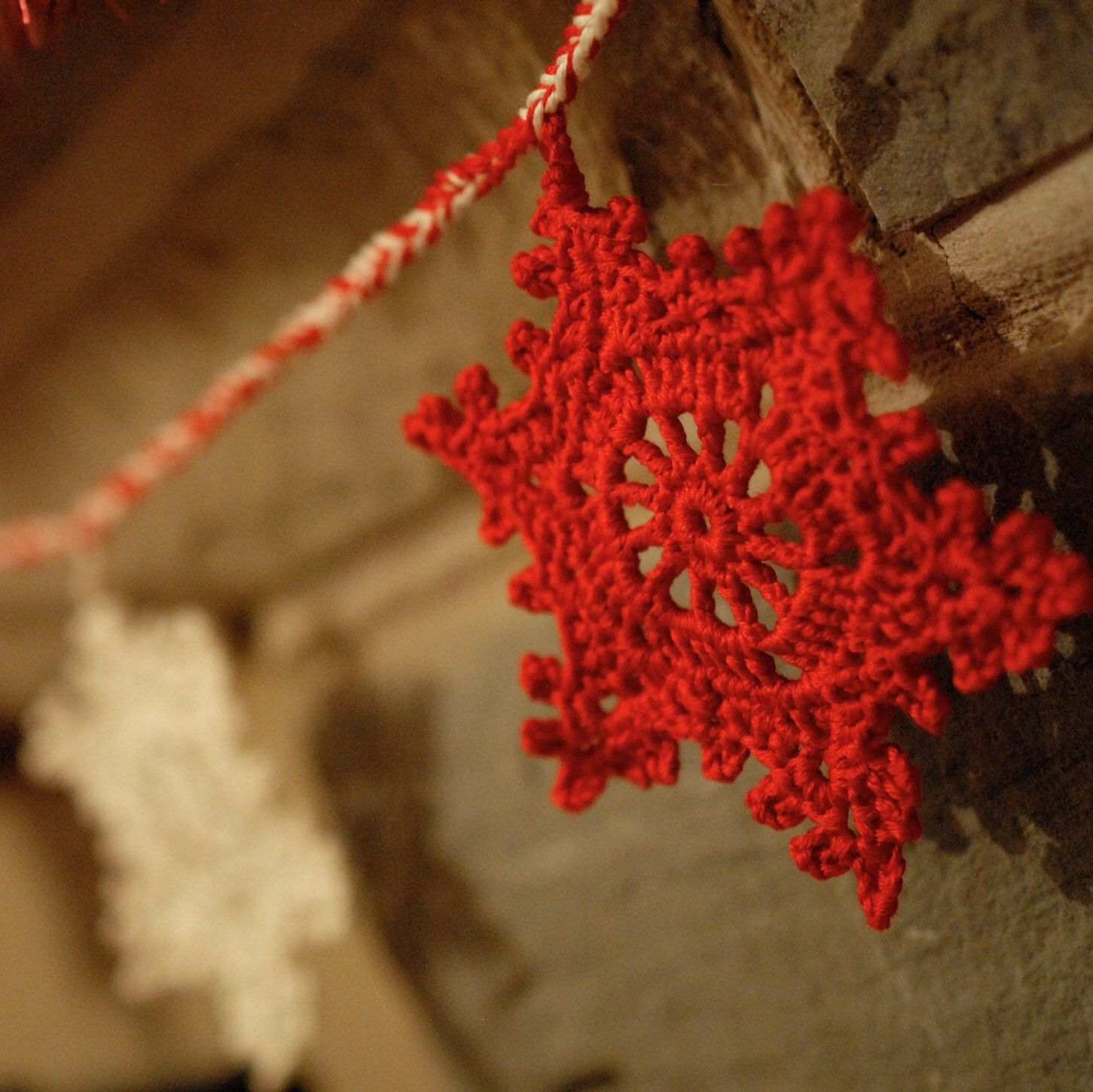 It's here it last! A gorgeous, candy striped snowflake garland-Order now before it sells out!