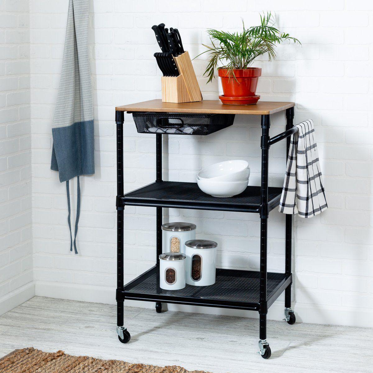 36 Inch Kitchen Storage Cart With Wheels Drawers And Handle Black In 2020 Kitchen Storage Cart Kitchen Storage