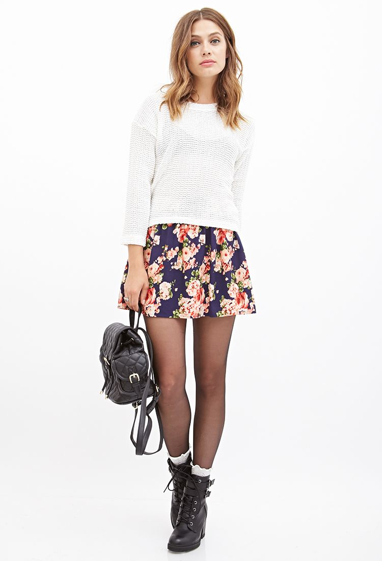2c72a83f15 combat boots, boots, black, floral, skater skirt, navy, sweater, fall,  socks, girly