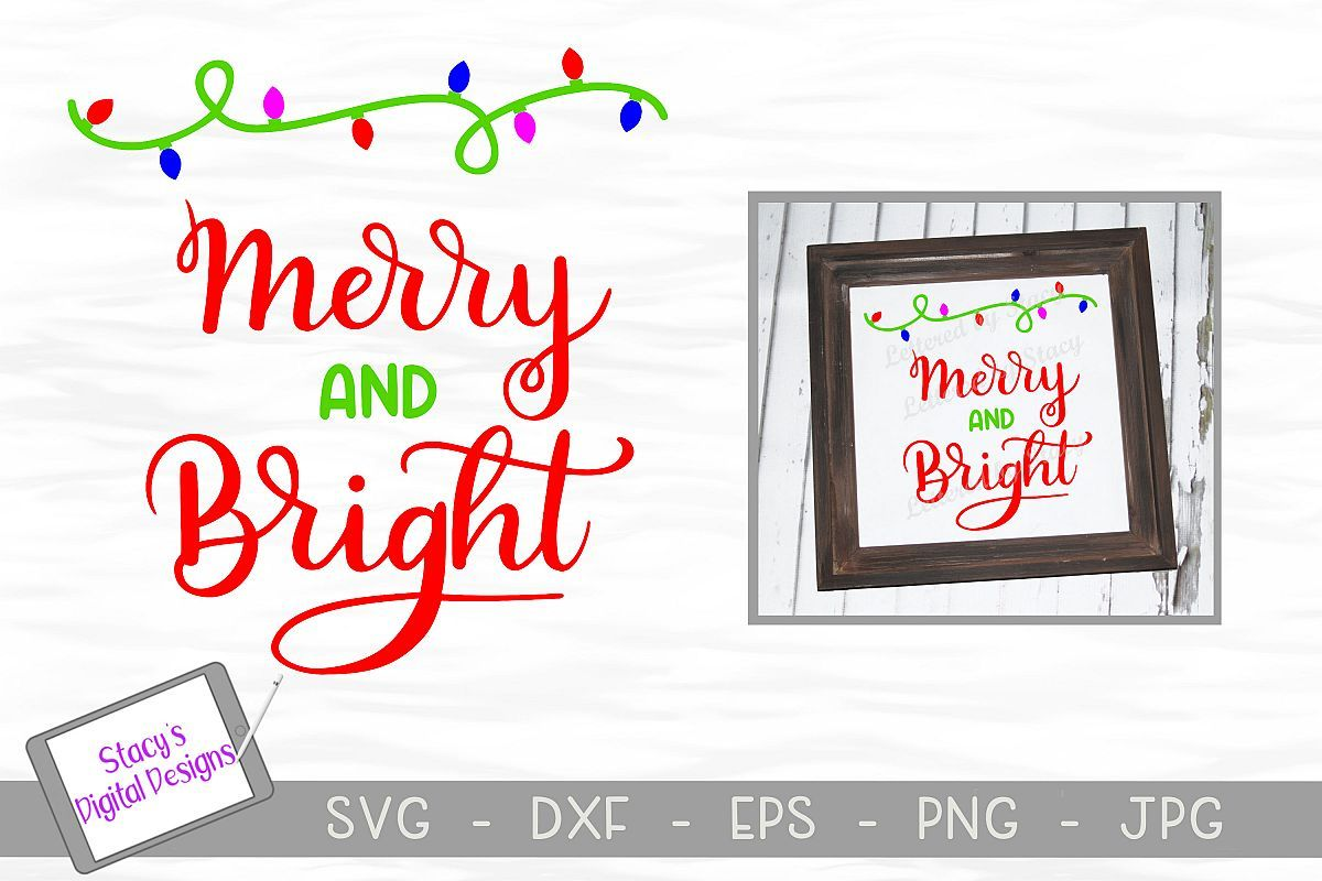 Christmas SVG Merry and bright with holiday lights