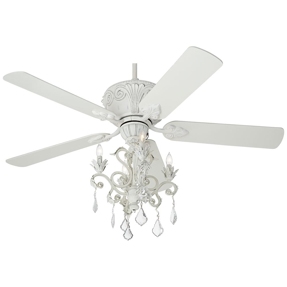Unique Ceiling Fans With Chandeliers: Casa Deville Rubbed White Chandelier Ceiling Fan