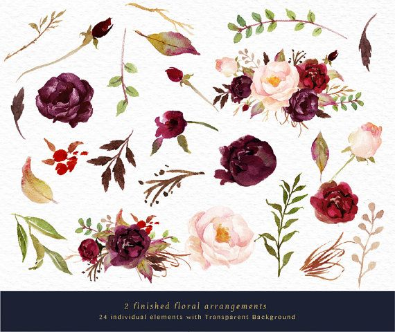 Watercolor Floral Clip Art Marsala Graphic Elements Small Set